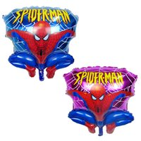 animated birthday - 60 cm Cartoon Animated Spiderman Foil Helium Balloons Aluminum Ballon Kids Toys Globos baby shower Birthday Party Decoration