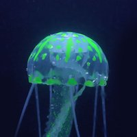 Wholesale New cm Mini Aquariums Accessories Artificial Jellyfish with Sucker Green Glowing Effect Fish Tank Aquarium Decoration