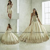 art gothic - Gorgeous Gold Applique Sparkly Beaded Two Pieces Quinceanera Dresses Custom Make Gothic Corset Sweet Girls Formal Prom Dress