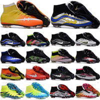 Wholesale Cream Colour Boots - 18 Colour Mens Mercurial Superfly CR7 FG Soccer Cleats Magista Obra Soccer Shoes Outdoor s League Football Boots Hypervenom II Cleats