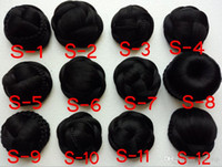 Wholesale Medium Size Hair bun Knitted Hair Chignon Synthetic Donut Roller Hairpieces Natural black style