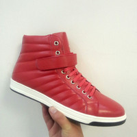 Wholesale P brand red mens shoes genuine leather magic tape mens shoes skate shoes
