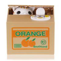 automatic piggy bank - New Cut Automatic Stole Coin Piggy Bank Panda Yellow White Cat Money Box x9 x9cm Money Saving Box Moneybox Gifts For Kids
