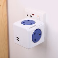 Wholesale PowerCube V A Universal Electric Outlet Socket Adapter Power Strip with Multipurpose Outlets Dual USB Charging Port Blue