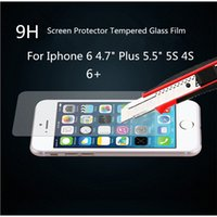 Wholesale For iPhone5SPlus S Tempered Glass Film Screen Protector Explosion Proof For Samsung GalaxyS4 S5 S6 Note4 With Package good