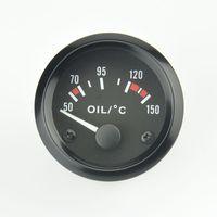 Wholesale 52mm black face V Engine oil temperature Gauge Detect Oil temp gauge car Refit
