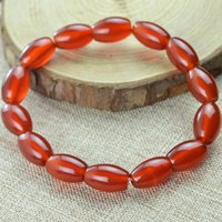 asian rice - 8mm mm high quality Natural red agate spcial rice shape stone beads bracelet with cheap price for sale