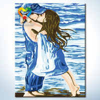 baby kissing - Kissing Wall Art DIY Painting Baby Toys x40cm Artistical Canvas Oil Painting Drawing Wall Art for Colleague Gift with SGS PONY CNAS
