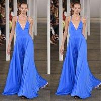 affordable evening wear - 2016 Affordable Celebrity Dresses Evening Wear Spaghetti Straps V Neck A Line Floor Length Blue Chiffon Elie Saab Dresses Custom Made