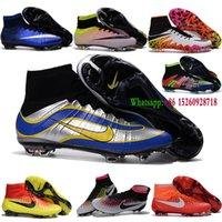achat en gros de indoor soccer shoes-Nouvelles 2016 chaussures de soccer intérieur Magista Superfly FG Chaussures de football Mens haute cheville Crampons Superfly FG CR7 AG hypervenom originale II Bleu