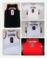 Wholesale 100 Stitched Mens RipCity Damian Lillard Jersey Team Retro Black White Red Rev New Material sports Shirs Size S XL