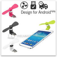 Wholesale 30x Portable Micro USB Phone Mini Fan with Two Leaves for Samsung Galaxy S7 S6 S5 NOTE Other Mobile Phone with OTG Power Bank DHL