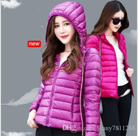 Wholesale New Women Ultra light Down Jackets White Duck Pocketable Down Jacket Hooded Slim Thin Down Coats Outerwear Cap Collar Autumn Winter