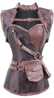 Wholesale Sexy Retro Lingerie Women Steel Boned Overbust Gothic Corset Steampunk Sexy Costumers Corpete Corselet Plus Size
