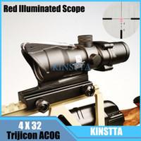 4X32GQH acog scopes - Trijicon ACOG Tactical Hunting Riflescope X32 Fiber Source Red Illuminated Scope black color