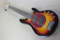 Custom Music Man 6 cuerdas graves Erime bola de la pastinaca del resplandor solar de la guitarra eléctrica roja Pickguard de arce cuello herrajes cromados