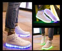 big charges - LED Light Up Shoes For Adults High Top Big Size Unisex dance shoes USB Charging Lights Shoes Black White DHL