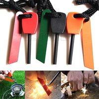 Wholesale Hot Outdoor Camping Hiking Survival Living Magnesium Flint Fire Starter Rod Steel Striker Lighter Gear Gadgets DHL Free