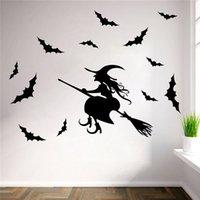 bat ornament - Hot Sale PVC Waterproof Halloween Party Witch Bat Wall Sticker Decor Wallpaper Art Removable Ornaments x51cm