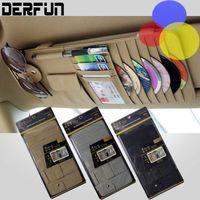 Wholesale New Quality Genuine PU Leather multifunctional folder bag Car Visor CD Pen Card Holder Sunglasses Clip