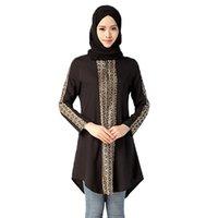 Wholesale Traditional Muslim women casual chiffon full sleeve T shirt plaid pattern pullover O neck black casual abaya