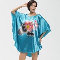 bathrobe prices - fashion Plus size bathrobes women lotus pattern sleepwear girls nightwear batwing sleeve pajamas low price drop shipping