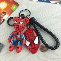 Wholesale Fashion Leather Car Keychain Auto Keyring PU leather Strap Keychain Handmade Bear Key Chain Gifts Keychain