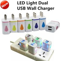 Wholesale Water drop EU US Plug Dual USB LED light Wall Chargers Adapter V A A Travel USB Power Adapter for iphone s Samsung S7 edge ipad