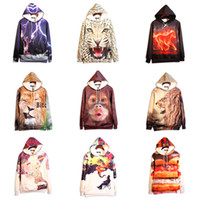 Pullover big mens sweaters - 2016 Autumn new hoodie casual mens big size sweater D print cool vivid animals lion monkey painting high quality sweatshirts