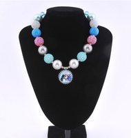 Wholesale Hot Chunky bubblegum lovely beads bottle cap frozen Elsa pandent necklace new arrival Fashion Children s Jewelry