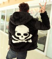 Wholesale Fall Winter new Leather grass overcoats male skull pattern fashion Hoodie faux fur coat Cozy black rabbit fur jacket