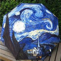 beach umbrella paintings - Oil Painting Umbrella Rain Women Creative Abstract Art Van Gogh Starry Night Beach Umbrella Anti UV Decorative Umbrella