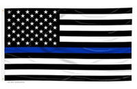 Wholesale 90 cm BlueLine USA Police Flags x5 Foot Thin Blue Line USA Flag Black White And Blue American Flag With Brass Grommets