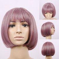 Wholesale New brand Fashion Taro purple Heat Resistant Harajuku Women Synthetic hair Short cosplay Bobo Bob Wig popular