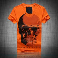 Wholesale 2016 Philip Pleasants summer tide brand PP T shirt hot drilling skull Men s round neck cotton Slim fashion big yards