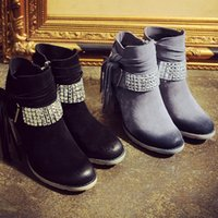 Wholesale In the fall and winter of British wind leather boots round head thick with high heel boots diamond tassel boots USES boots Lameizi B658