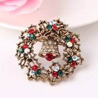 antique brooches and pins - Alloy brooch Christmas gifts and pin red and green crystal brooch flower circle design Antique gold and antique silver plating