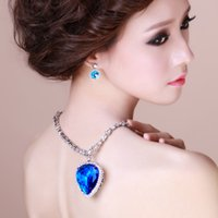 Wholesale 1PCS MM Gold Plated Luxury Ocean Crystal Heart Necklace Environmental Protection Copper Zinc Alloy Beautiful And Elegant