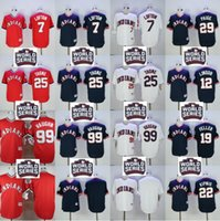 Wholesale 2016 World Series Patch Men s Cleveland Indians Kenny Lofton Lindor Brantley Jim Thome Vaughn Blue Throwback Baseball Jerseys