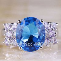 Wholesale Charming Fashion Oval Cut Shiny Blue Topaz amp Tourmaline Silver Ring Size Love Style JEWELRY