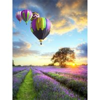 antique hot air balloon - DIY diamond painting d diamond rhinestone pasted crystal resin full Lavender hot air balloon decoration x60cm LD