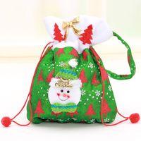 Wholesale High Quality Style Xmas Gift Bag Canvas Cotton Elk Santa Claus Drawstring Bag Creative Christmas Gift Bag
