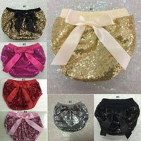 Wholesale 2016 kids shorts girls sequined shorts baby bloomers diaper covers toddler sequin shorts pants boutique satin bowknot short