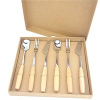 Wholesale 6pcs Wooden Handle Stainless Steel Tableware Kitchen Ware Kraft Paper Gift Box Spoons Forks Knives Gift Sets Tableware Kits Dinner Ware Kit
