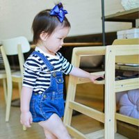 Wholesale 2016 INS Popular Summer Children Overalls Hot Pant Boys Girls Jeans Suspender Short Trousers Blue Classic Cute Lovely Vintage Kids Clothing