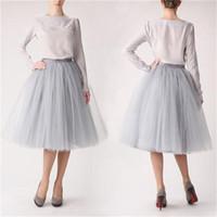 Wholesale Knee length Short Tutu Skirt Layer Tulle A Line Skirt for Bridesmaids Ruffles Party Wear Cheap Half Skirt