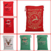 Wholesale 6 Colors Large Canvas Monogrammable Santa Claus Drawstring Bag Reindeers Monogramable Christmas Gifts Sack Bags Shopping Bag Tote