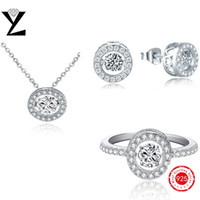 Wholesale Round Sterling Silver AAA Cubic Zirconia Crystal Jewelry Sets for Women Fashion Jewerly with Dancing CZ Diamond Ring Necklace Earrings