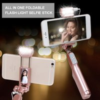 Wholesale Mini Self portrait Stick LED Flash Fill Light Handheld Extendable selfie stick for ISO Android monopod Tripod Monopod self