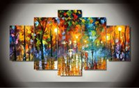 afremov prints - 5 panel modern art Beautiful Leonid Afremov Painting Wall Art palette knife Oil Painting Print on Canvas F